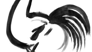 天を仰ぐニワトリ鶏墨絵無料年賀状素材イラスト