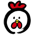 丸くて可愛い鶏墨絵無料年賀状素材干支酉年イラスト