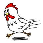 走る可愛いニワトリ鶏無料年賀状素材干支酉年イラスト