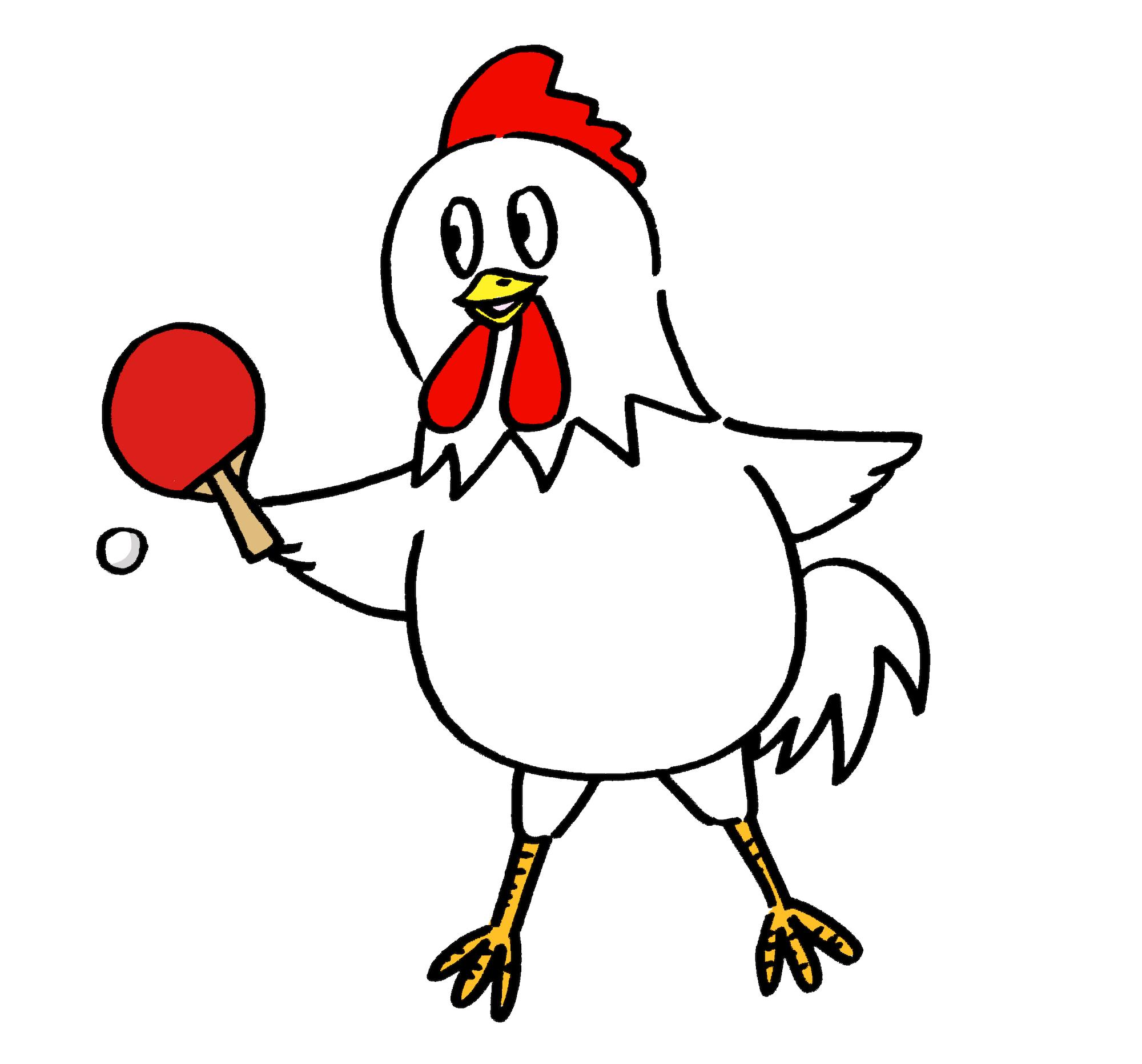 卓球をする可愛い鶏ニワトリ無料年賀状素材酉年