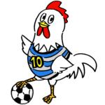 サッカーをする可愛いニワトリ鶏無料年賀状素材干支酉年イラスト