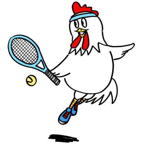 テニスをする可愛い鶏無料年賀状素材酉年イラスト