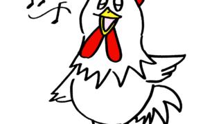 楽しく歌う可愛いニワトリ鶏無料年賀状素材干支酉年イラスト