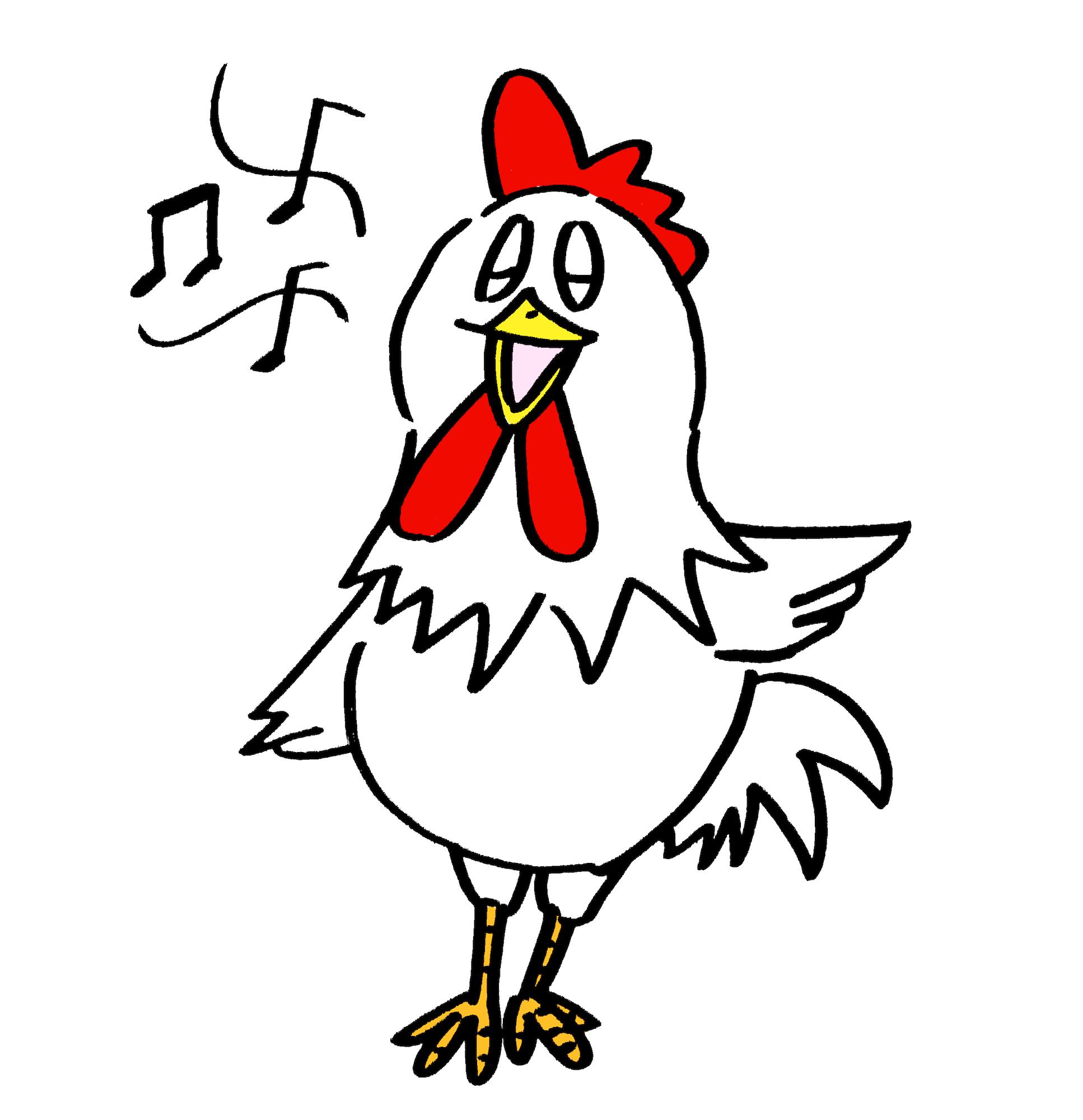 楽しく歌う可愛いニワトリ鶏☆無料年賀状素材干支酉年