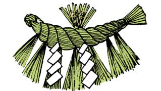 神棚に飾るしめ縄お正月素材イラスト