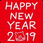 HAPPY NEW YEAR文字とイノシシの顔イラスト