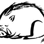 寝ている可愛いイノシシの墨絵イラスト無料