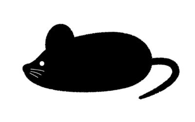 ネズミのシルエットイラスト黒